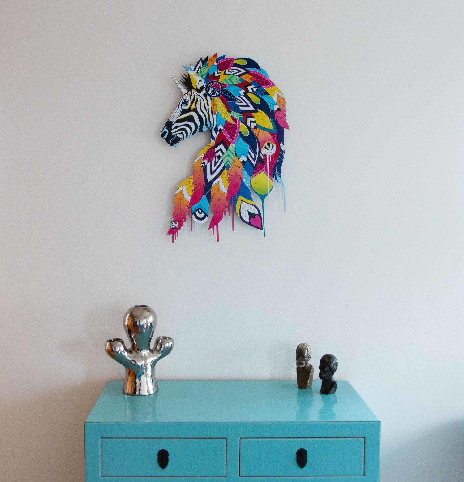 "DRIP'IN ""Rainbow Zebra"" steel lithograph by Cez'Art"