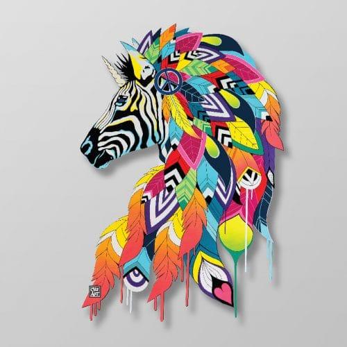 """Drip'in s'inspire de l'œuvre """"Rainbow Zebra"""" de Céz'Art"""