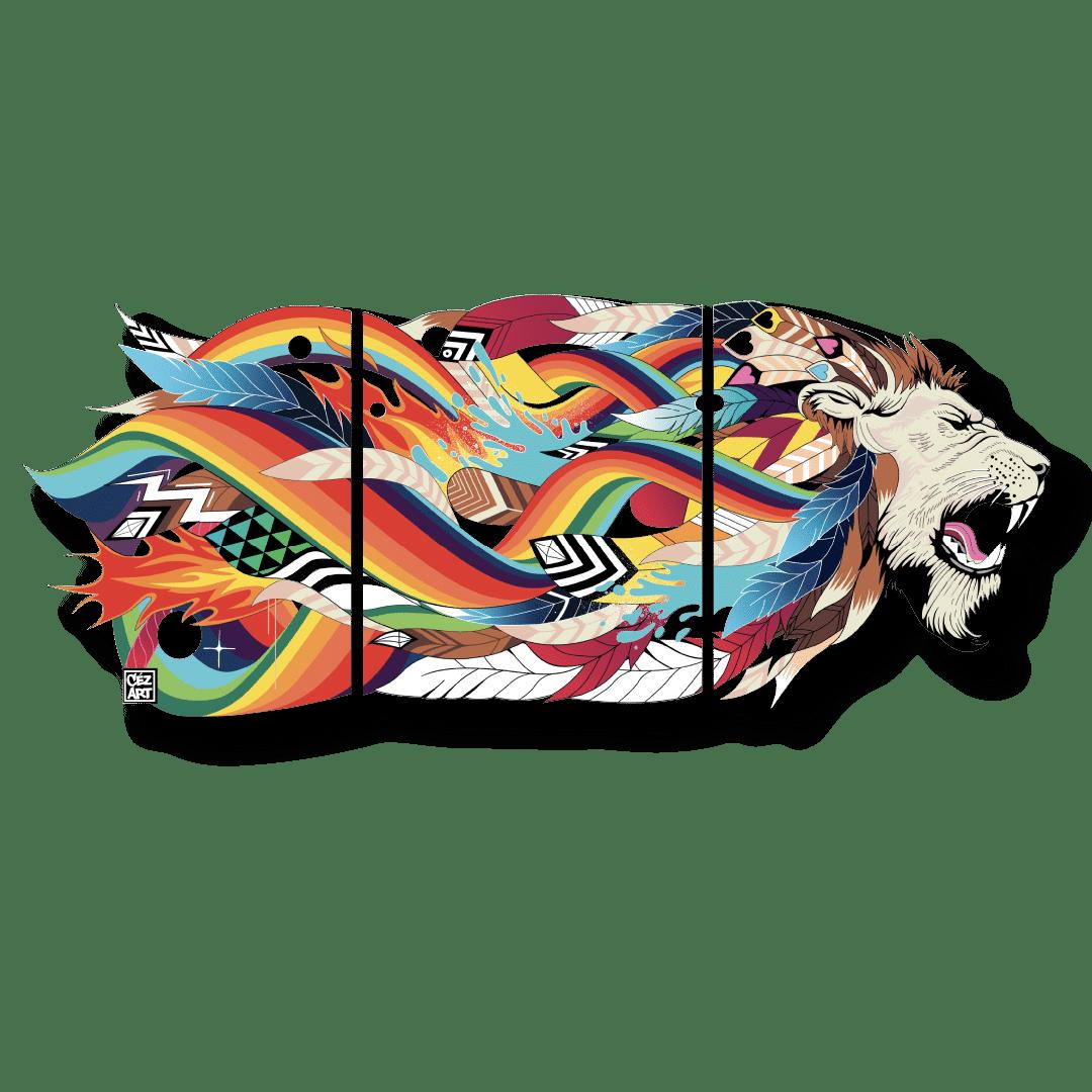 """Lithographie acier  triptyque """"Lion King 3"""" Céz'art"""