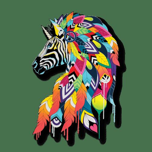 """Lithographie acier   """"Rainbow Zebra"""" Céz'art"""