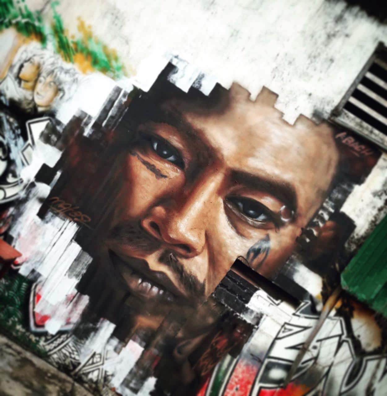 """In 2018, in Cambodia, Mate painted Tuy """"Kay Kay"""" Sobil's portrait"""