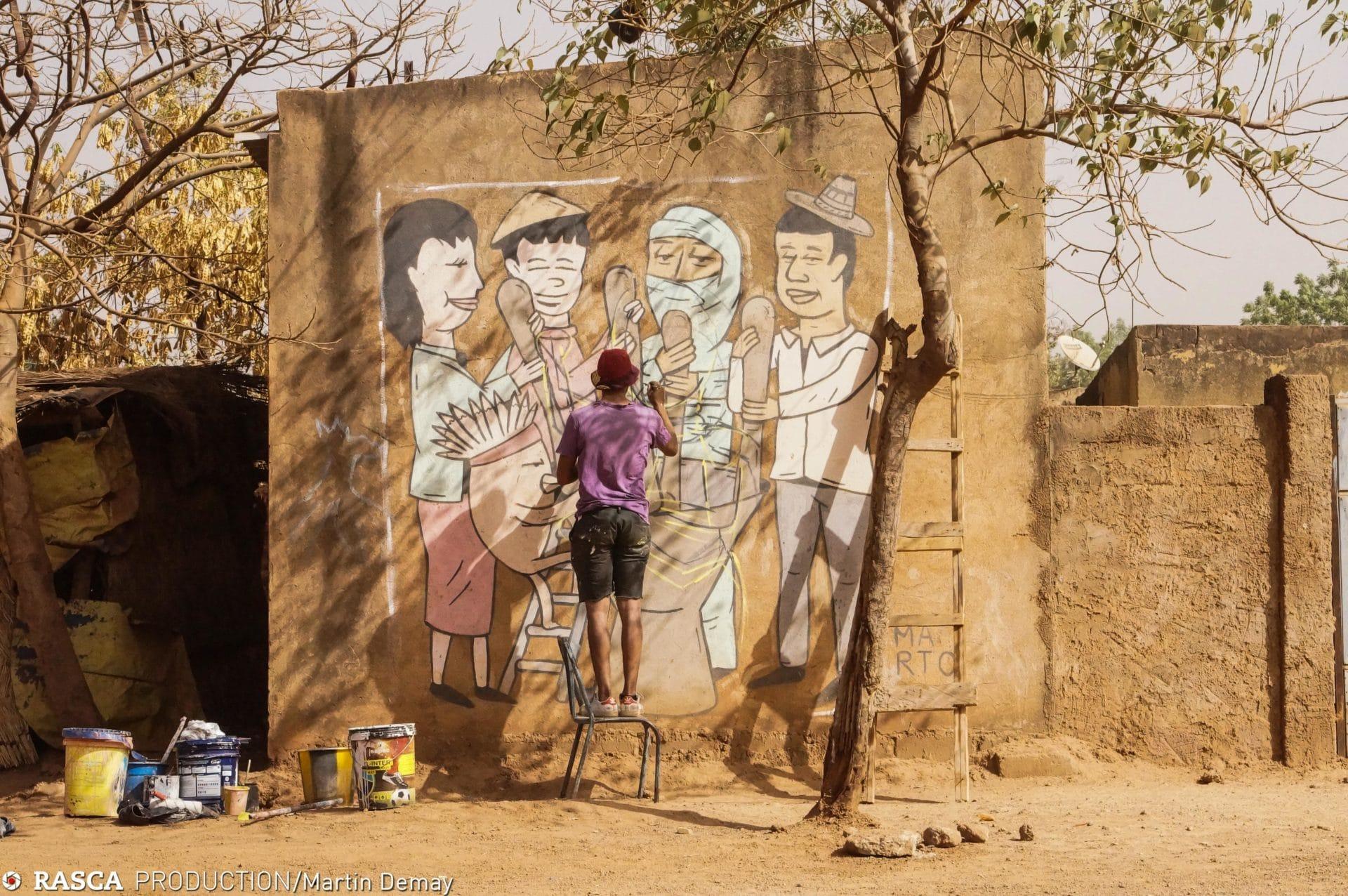 DRIP'IN is inspired by El Marto's murals at Ouagadougou