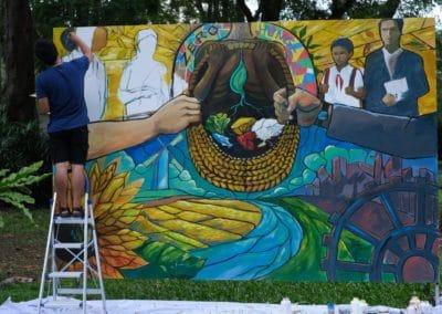 Street artist KINGI work in progress at April 2021 street art Jam