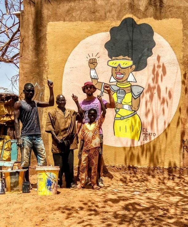 Mural at Burkina Faso by street artist El Marto