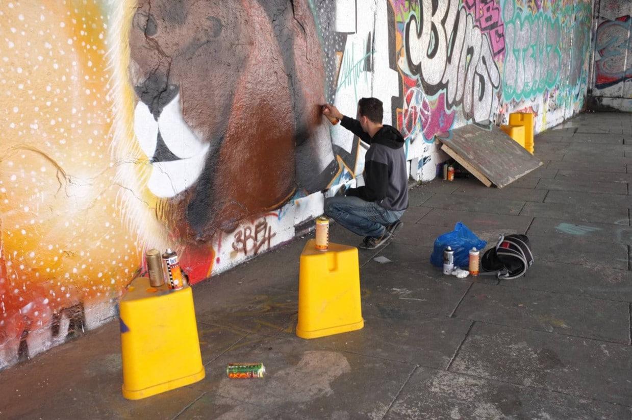 Mural street art in London - work in progress