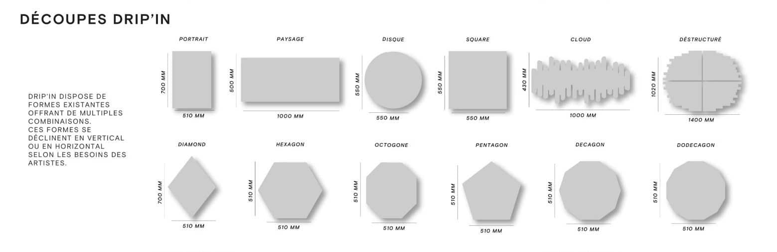 DRIP'IN Studio - formes de découpes des lithographies acier existantes