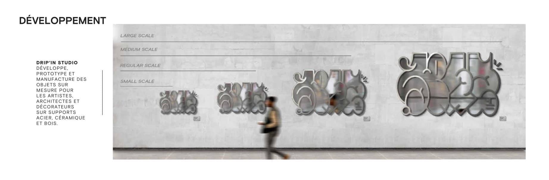 Tailles sur mesure des lithographies acier DRIP'IN Studio
